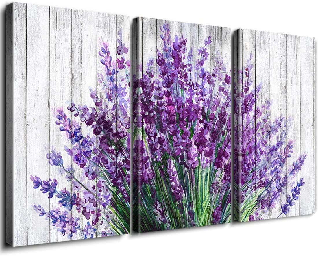 Amazon Com Rustic Home Decor Lavender Flowers Wall Art Purple Floral Picture Painting Artwork Vintage Wood Background Canvas Prints Modern Still Life Photo Decoration Living Room Bathroom 12x16 Inch 3panels Posters Prints