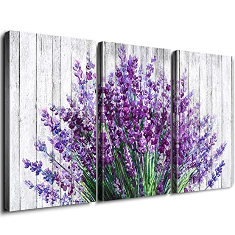 Rustic Home Decor Canvas Wall Art Retro Style Purple Lavender Flowers  Picture on White Vintage Wood Background Rural Modern Artwork for Living  Room ...