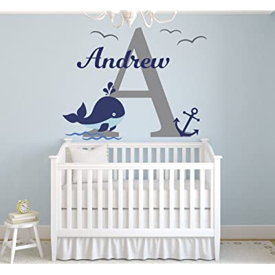 "Lovely Decals World LLC Wall Decals Nautical Personalized Whale Name Art Nursery Decor Mural Sticker Vinyl LD37 (46"" W x 30"" H): Home & Kitchen"