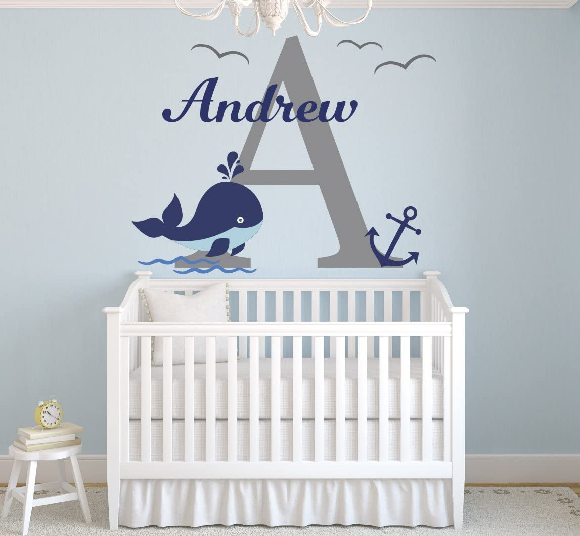 "Lovely Decals World LLC Wall Decals Nautical Personalized Whale Name Art Nursery Decor Mural Sticker Vinyl LD37 (28"" W x 18"" H)"