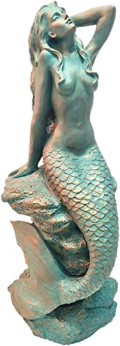 "Homestyles 28 inches ""Sexy"" Mermaid Bronze Antique Pewter Sitting on Coastal Rock Beach Collectible Statue"
