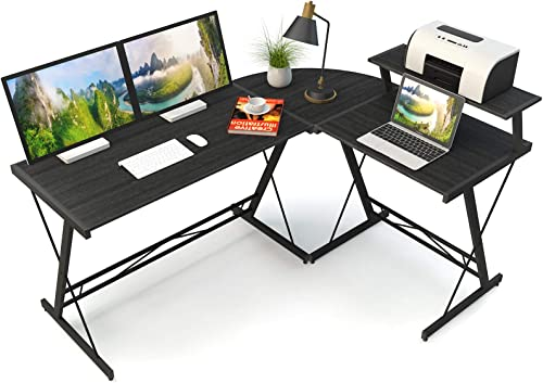 "COSYLAND L Shaped Computer Corner Desk 63"" Oversized 22"" Width Home Office Gaming Table Study Writing Workstation"