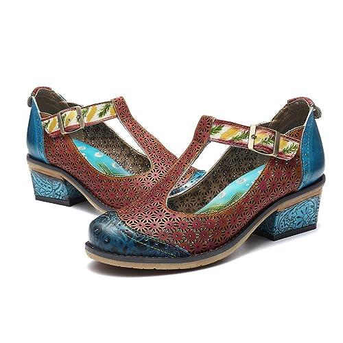 gracosy Cuero Zapatos de Tacón Medio de Mujer, Verano Primavera Fabricados a Mano con un