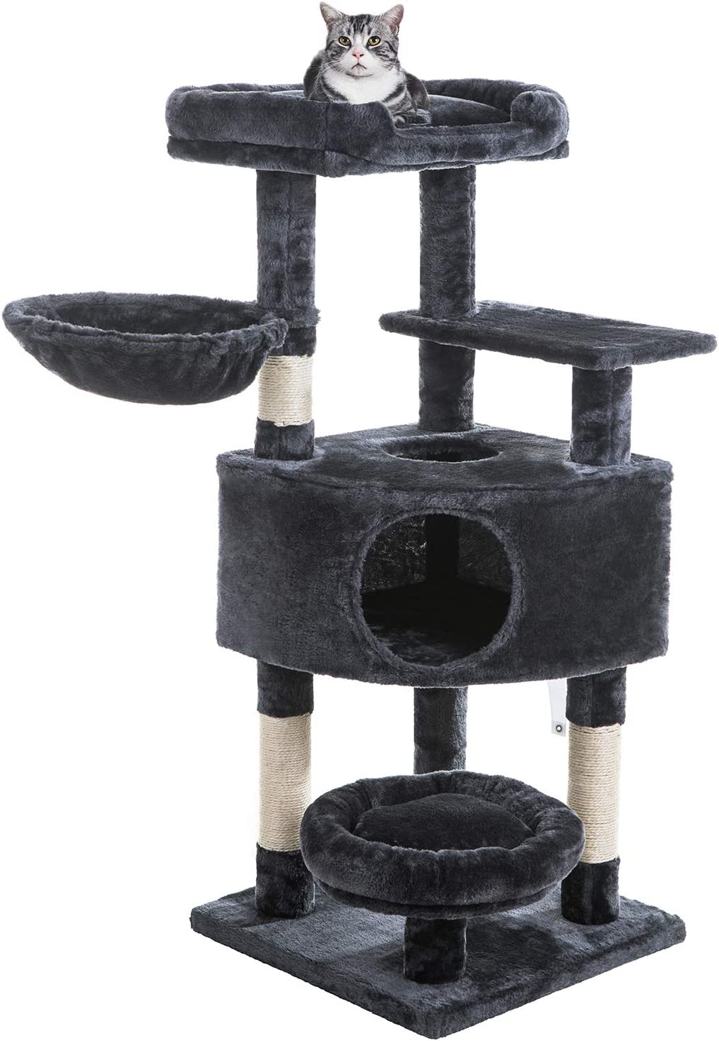 SUPERJARE Cat Tree Equipped with Spacious Condos & Plush Perches, Multi-Level Kitten Activity Tower with Scratching Posts & Basket Lounger