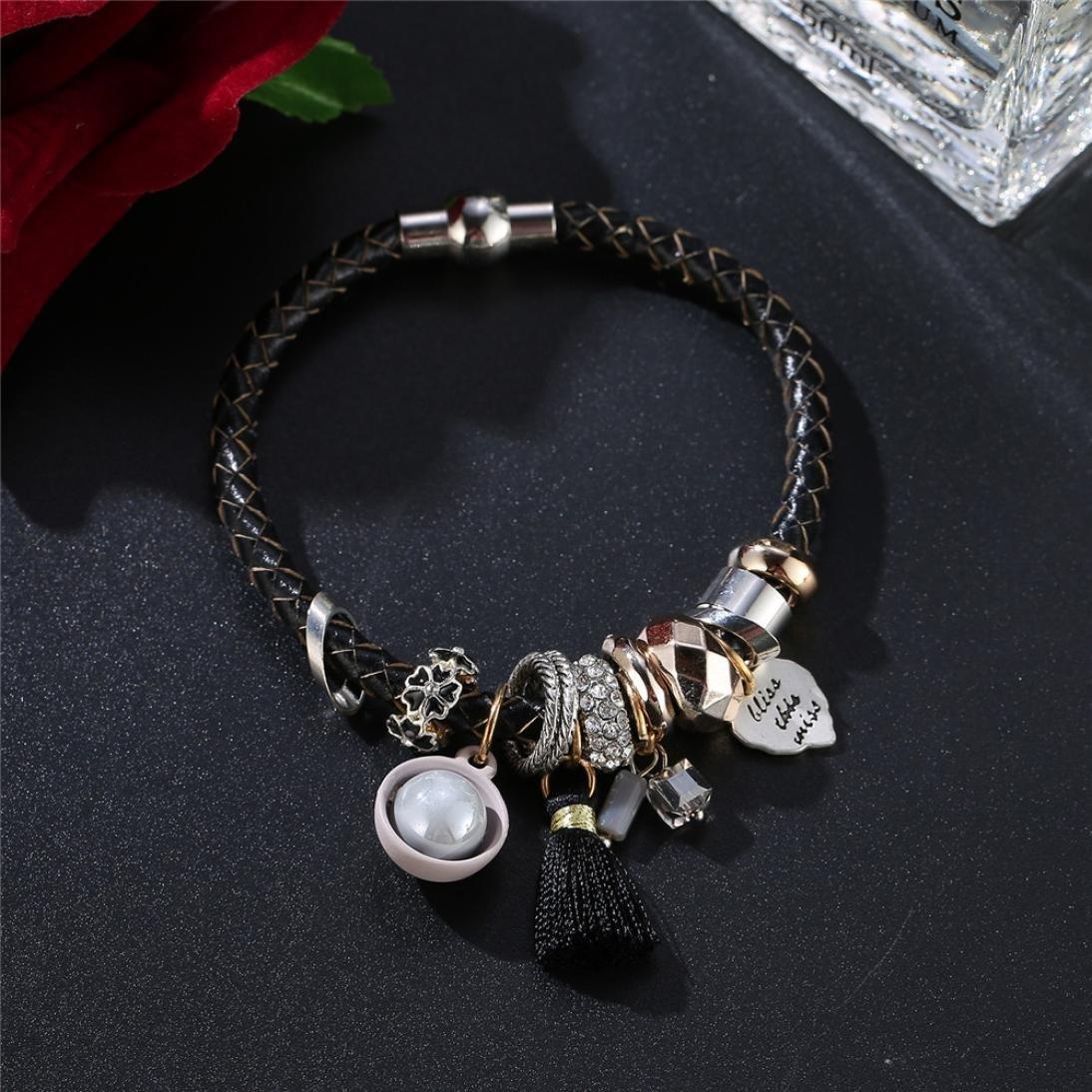 DENER Beaded Pearl Rhinestones Alloy Risers Acrylic Layer Hand-woven Braided Wire Bangle Bracelet