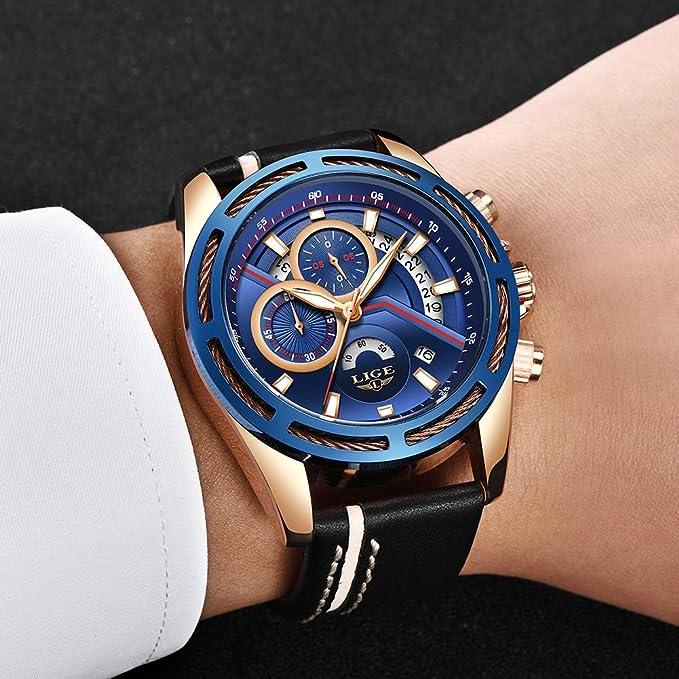 ee43c3d942cd Uhren Herren,LIGE Wasserdicht Chronograph Sport Militär Analog Quarzuhr  Lederarmband Blaues Zifferblatt Datum Mode Casual Kleid Armbanduhr Roségold  Blau  ...
