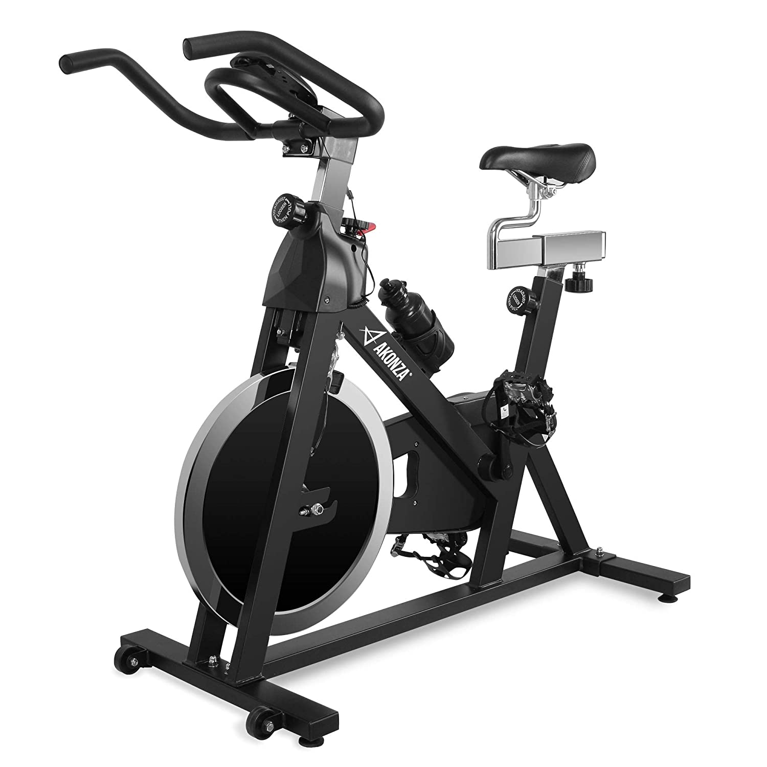 Akonza Indoor Cycling Bike Stationary 40LB Flywheel Exercise with Seat Cushion Workout Adjustable Resistance LCD Monitor