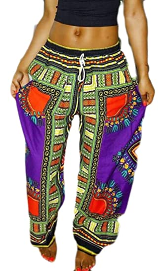 c81997234d3 Generic Womens High Waist African Print Wide Leg Drawstring Pants at Amazon  Women s Clothing store