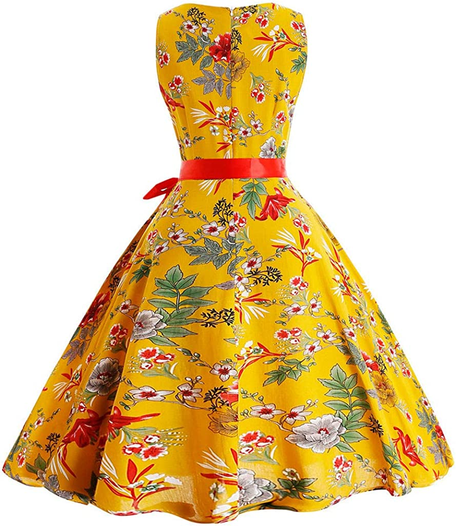 general3 Women Vintage 1950s Audrey Hepburn Sleeveless O-Neck Printing Pleated Cocktail Prom Swing Party Dress Yellow 4,XX-Large