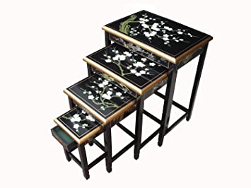 Chinese oriental furniture blossom nest of tables amazon chinese oriental furniture blossom nest of tables watchthetrailerfo