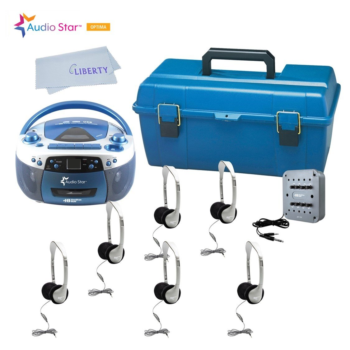 Hamilton Buhl AudioStar Optima - 6 Station Listening Center with USB, CD, Cassette and Radio Boombox with Liberty Cloth