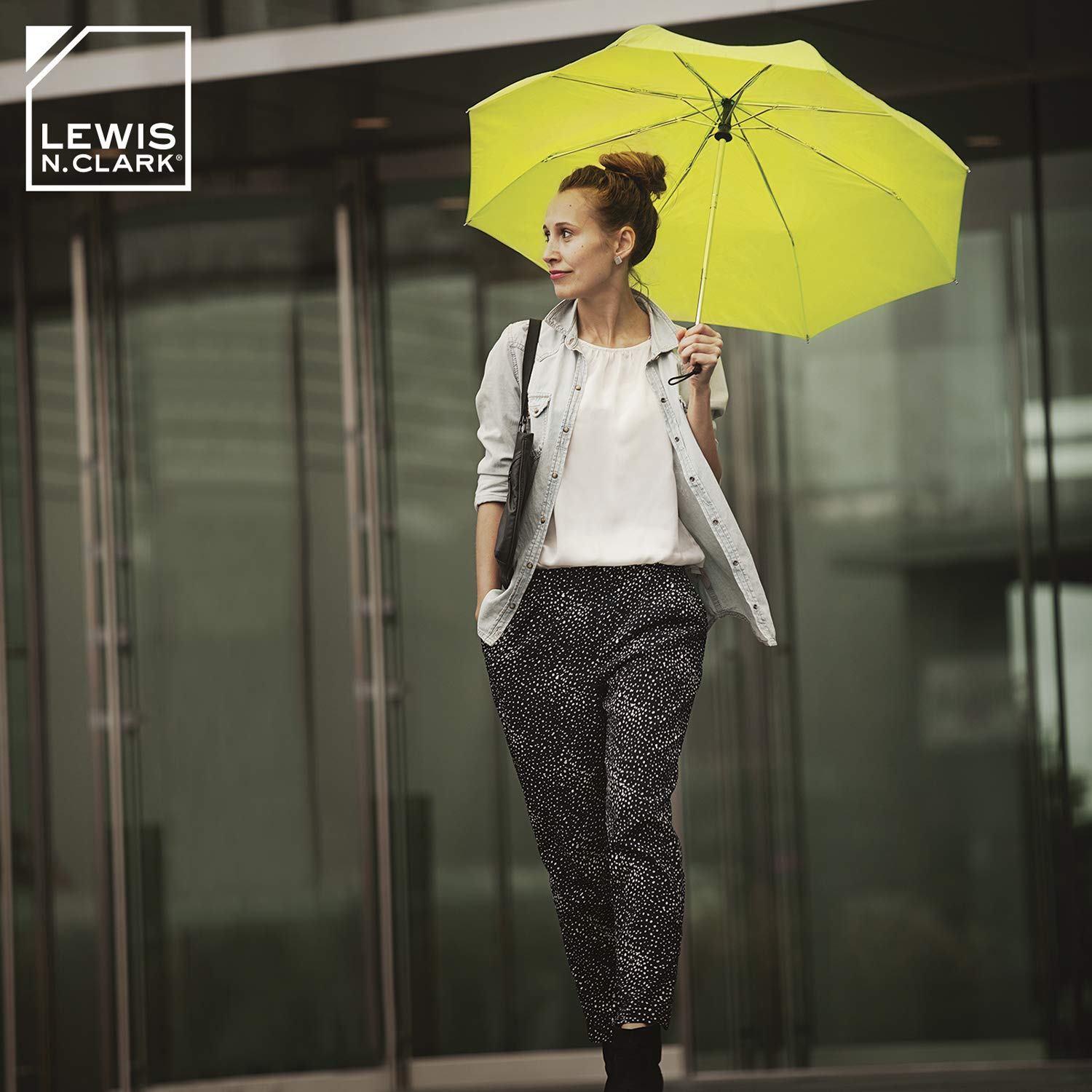 Lewis N. Clark Travel Umbrella: Windproof & Water Repellent with Mildew Resistant Fabric, Automatic Open Close & 1 Year Warranty. - Black by Lewis N. Clark (Image #4)