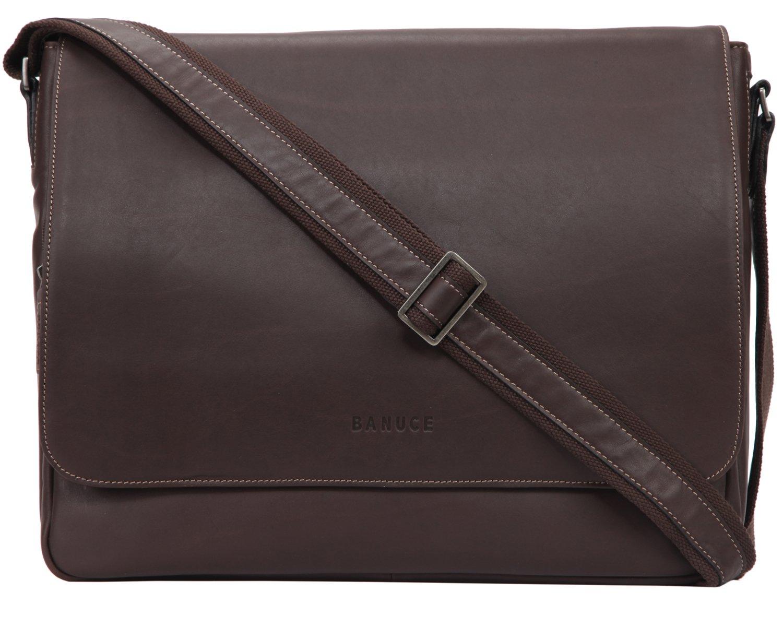 BANUCE Banuce Men's Full Grains Leather Flapover Business Messenger Bag by Banuce