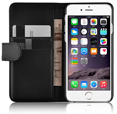 JAMMYLIZARD Lederhülle für iPhone 6 / 6s   Ledertasche [ Wallet Tasche Series ] Leder Book Case Hülle Flip Cover Schutzhülle