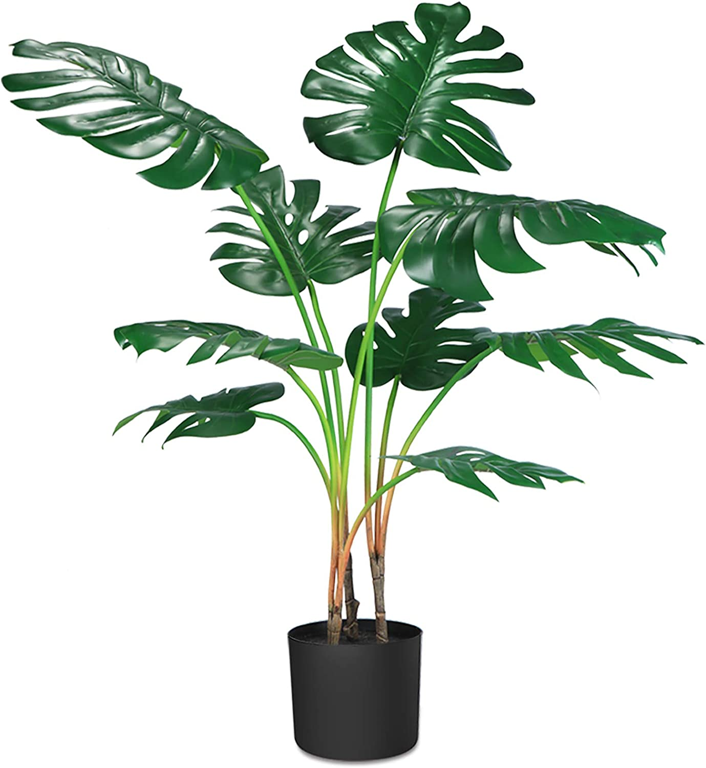 "CROSOFMI Artificial Monstera Deliciosa Plant 37"" Fake Tropical Palm Tree, Perfect Faux Swiss Cheese Plants in Pot for Indoor Outdoor House Home Office Garden Modern Decoration Housewarming Gift,1 Pack"