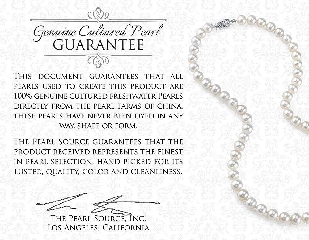 THE PEARL SOURCE 9-10mm Genuine Pink Freshwater Cultured Pearl /& Cubic Zirconia Leny Pendant Necklace for Women