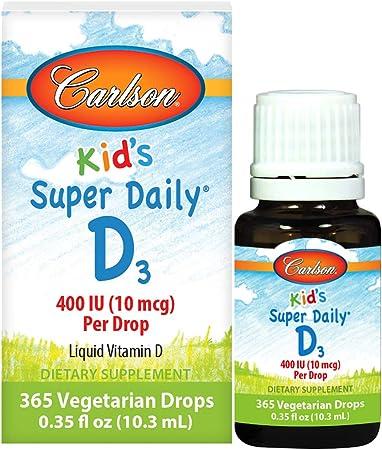 Carlson - Kid's Super Daily D3, Kids Vitamin D Drops, 400 IU (10 mcg) per Drop, Heart & Immune Health, Vegetarian, Liquid Vitamin D Drops, Unflavored, 365 Drops