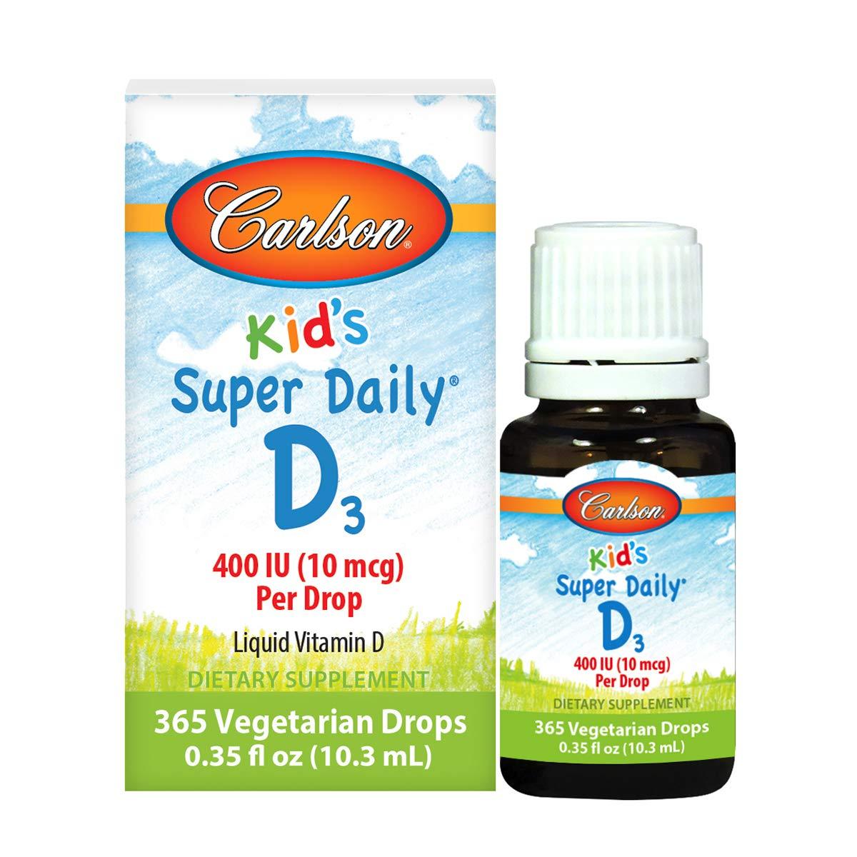 Carlson - Kid's Super Daily D3, Kids Vitamin D Drops, 400 IU (10 mcg) per Drop, Heart Health, Immune Support, Vegetarian, Liquid Vitamin D Drops, Unflavored, 365 Drops