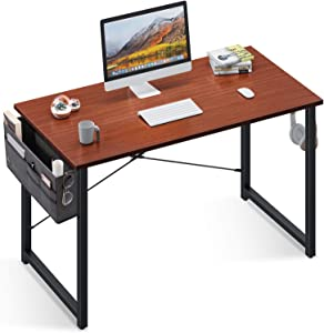 ODK Computer Writing Desk 31 inch, Sturdy Home Office Table, Work Desk with A Storage Bag and Headphone Hook, Teak