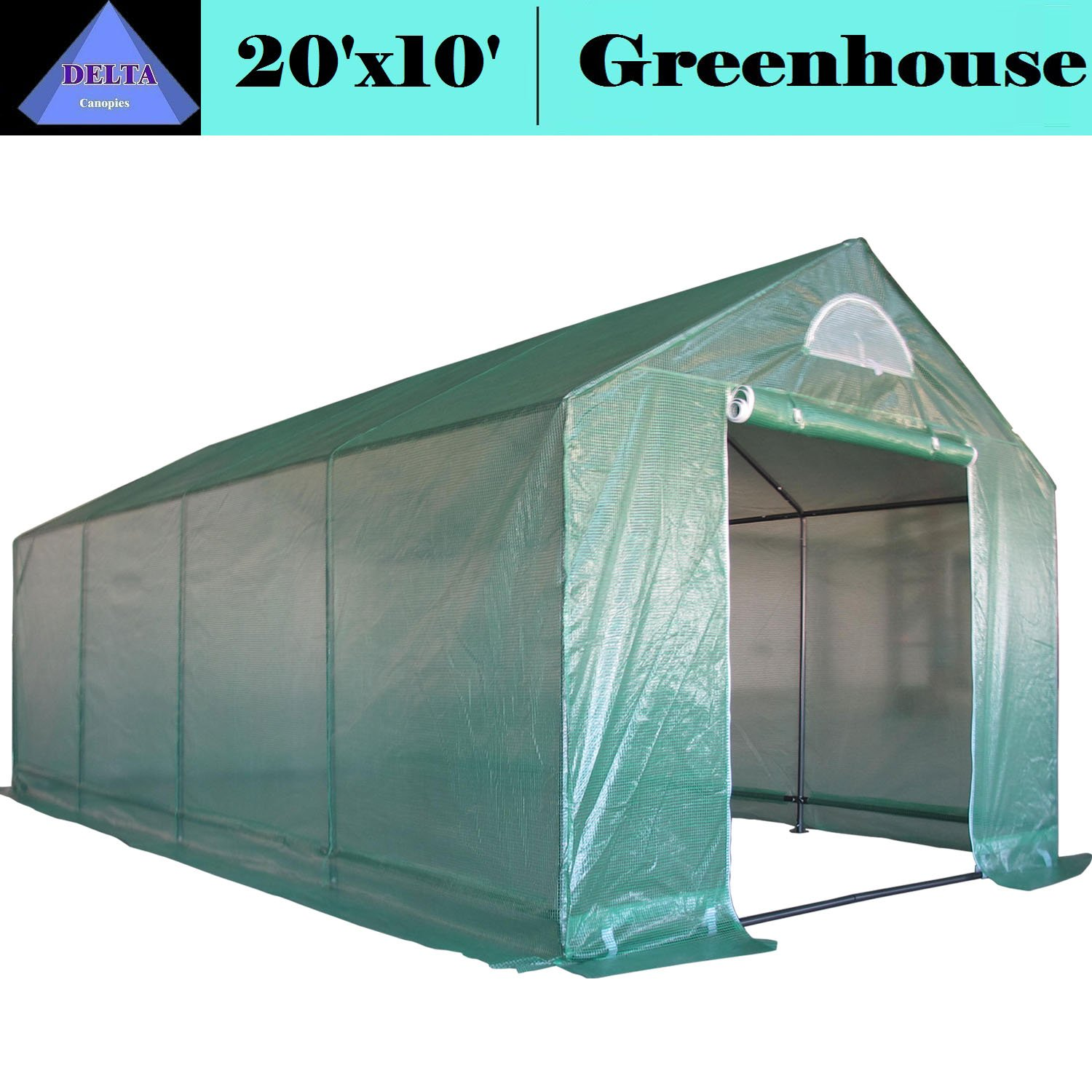 DELTA Canopies Greenhouse 20'x10' Triangle Top - Large Heavy Duty Green House Walk in Hothouse - 140 lbs By