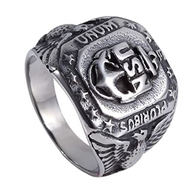Mens USN Eagle Military Ring Navy Steel Gold Silver Sainless Steel Biker Band