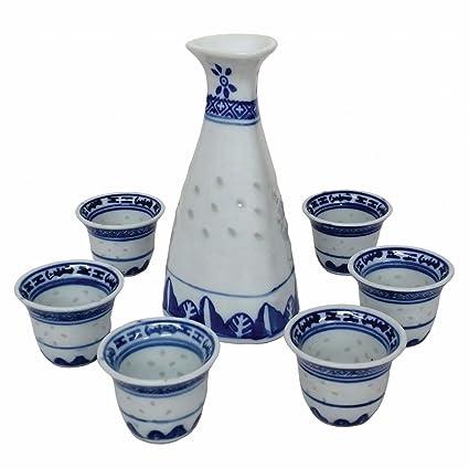 Juego de botella y seis vasos para sake, de porcelana oriental china, con diseñ