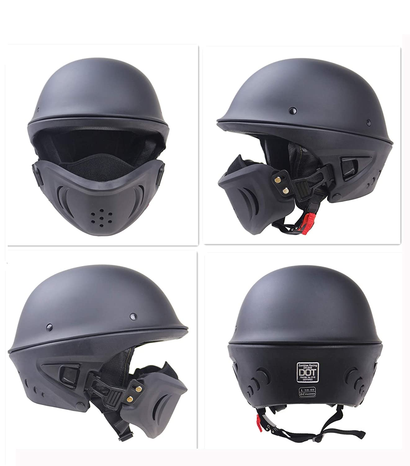 JohnnyLuLu Open Face Retro Motorcycle Crash Half Helmet Black D.O.T Approved with Cruiser Bobber Chopper Motorbike Scooter Racing Vintage Helmets for Adults ,S