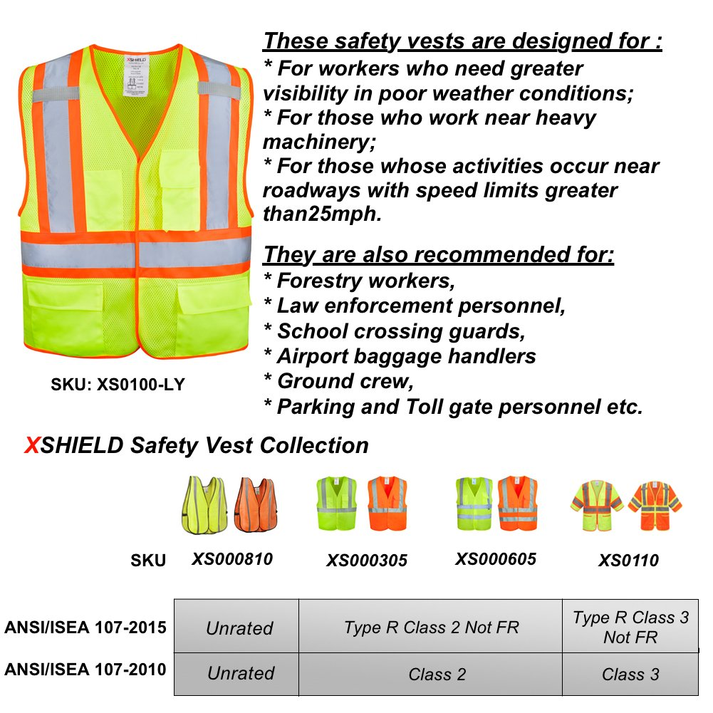 XSHIELD XS0100,High Visibility Safety Vest with Silver Stripe,ANSI/ISEA 107-2015 Type R Class2 Not FR,Pack of 5 (XL, Yellow)