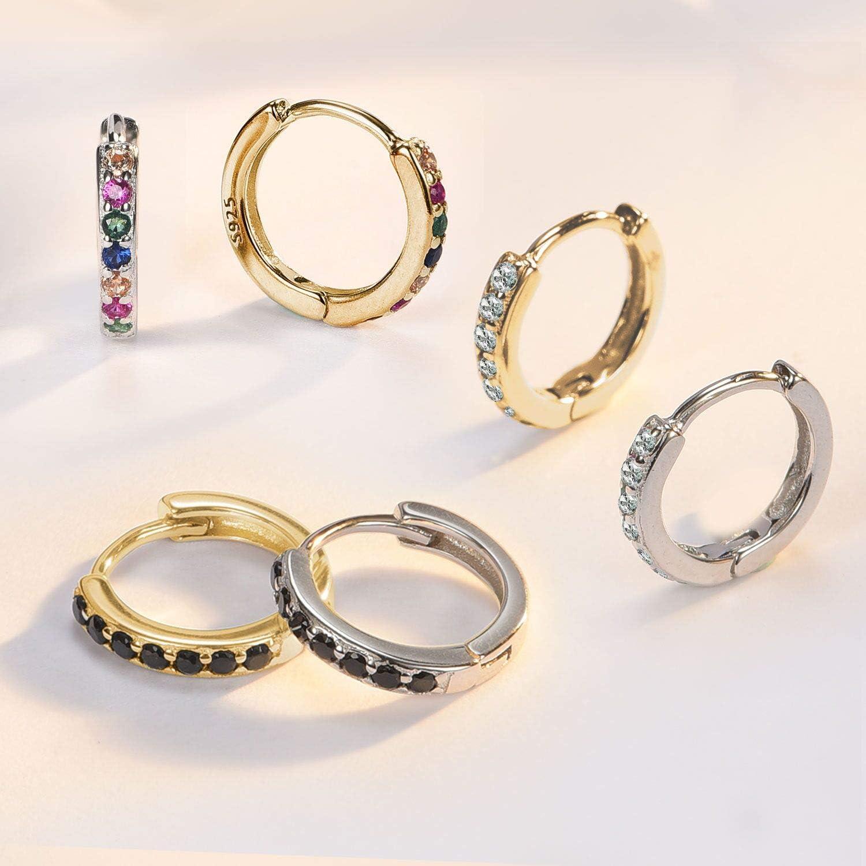 SWEETV 925 sterling silver hoop earrings for women girls Tiny small large huggie hoop earring 3 sizes