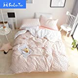 BuLuTu Little Black Triangle Pattern Premium Twin Bedding Collections With 4 Corner Ties Pink Cotton Bedding Duvet Cover Sets For Girls