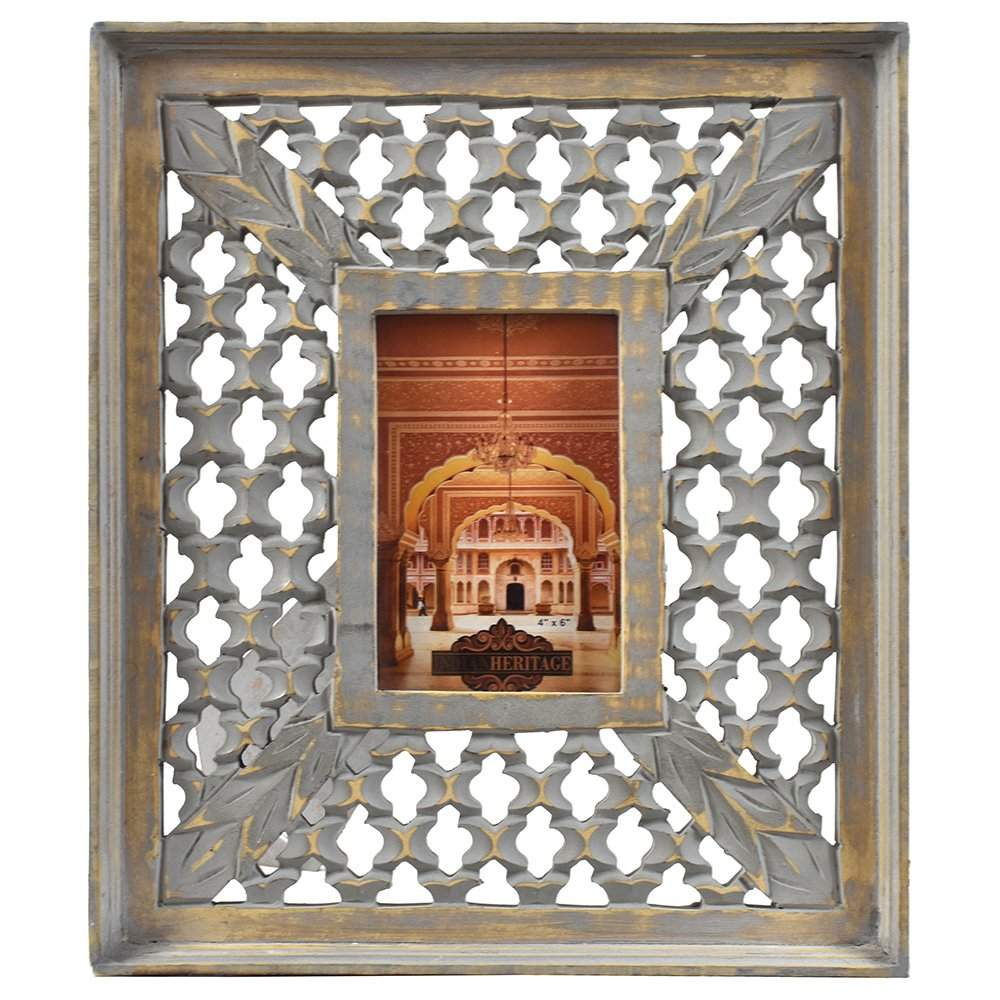 Indian Heritage Wooden Photo Frame 4x6 Mango Wood Carving Design with Grey Distress Finish by Indian Heritage (Image #1)