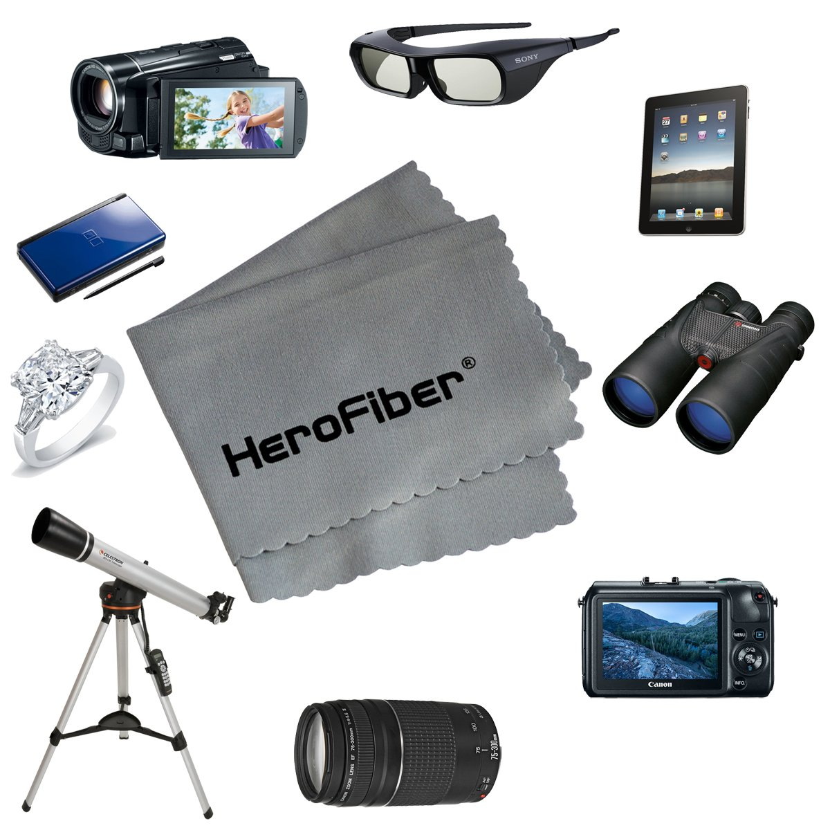 HeroFiber Ultra Gentle Cleaning Cloth for Cameras, Lenses, Smart Phones, Tablets, Gems and all other delicate items (Gray)