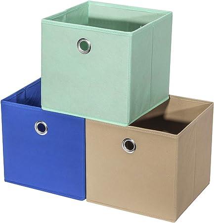 StorageManiac Set de 3 cajas plegables de almacenaje, Color azul, marrón y verde: Amazon.es: Hogar