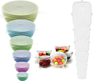 Silicone Stretch Lids 12 pcs Food Grade Silicone Reusable Lids for Bowl Container Fit for Different Sizes & Shapes Keep Fresh Replacement (white+white)