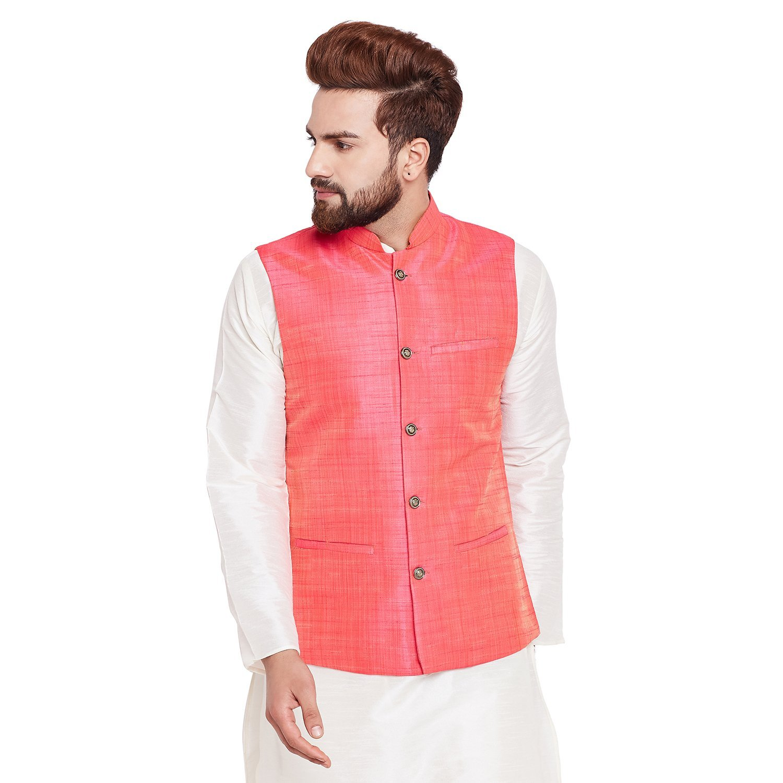 Sojanya Men's Dupion Silk Nehru Jacket Large Pink by Sojanya (Image #4)