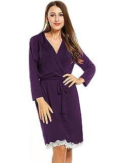 Avidlove Femme Kimono Coton Peignoir de Bain Robe de Chambre Pyjama Longue  Manche 3 4 e69d66428c2