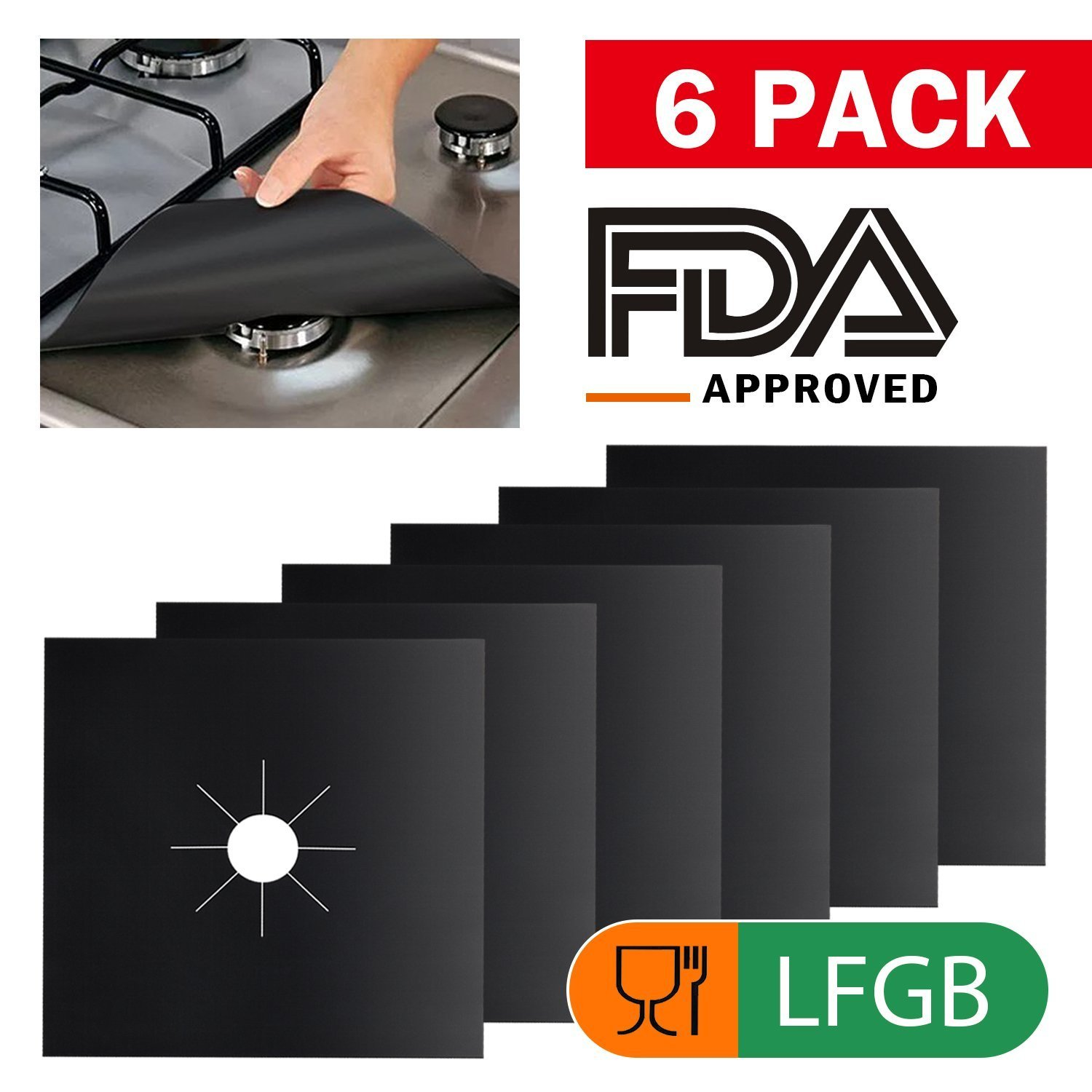 Gas Stove Burner Covers 6 Pack, Wimaha Double Thickness Gas Range Protectors with FDA Approved, Reusable, Non-Stick, Heat-resistant, Black (10.6