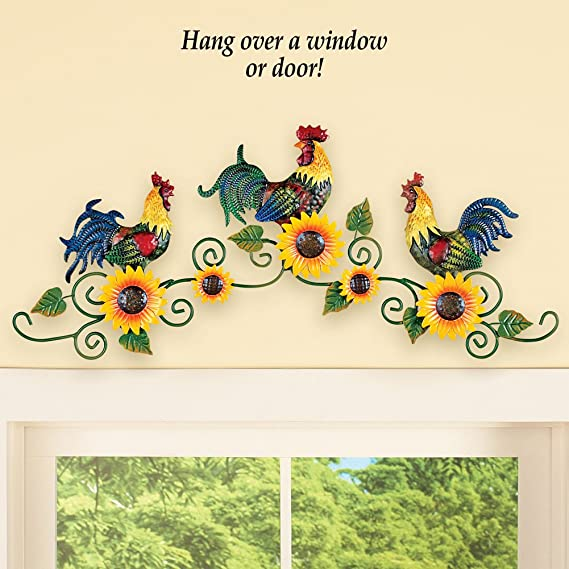Amazon.com: Roosters Trio on Scrolling Vine Metal Wall Art Decor ...
