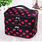 Pevor Makeup Bag Toiletry Bag Double Layer Large Capacity Handbag Travel Cosmetic Bags Cosmetics Storage Box Has a Small Mirror Cosmetics Collection Tools