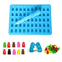Bessmate 5 x 10 Cavity Silicone Bears Molds With a Bonus Easy Fill Dropper for Hard Candy & Healthy Sugar Free Gummys Bear Vitamins & Chocolate Making in Novelty Shapes at Home,Silicone Soap and Ice Cube Trays,Cute Gift For Your Kids