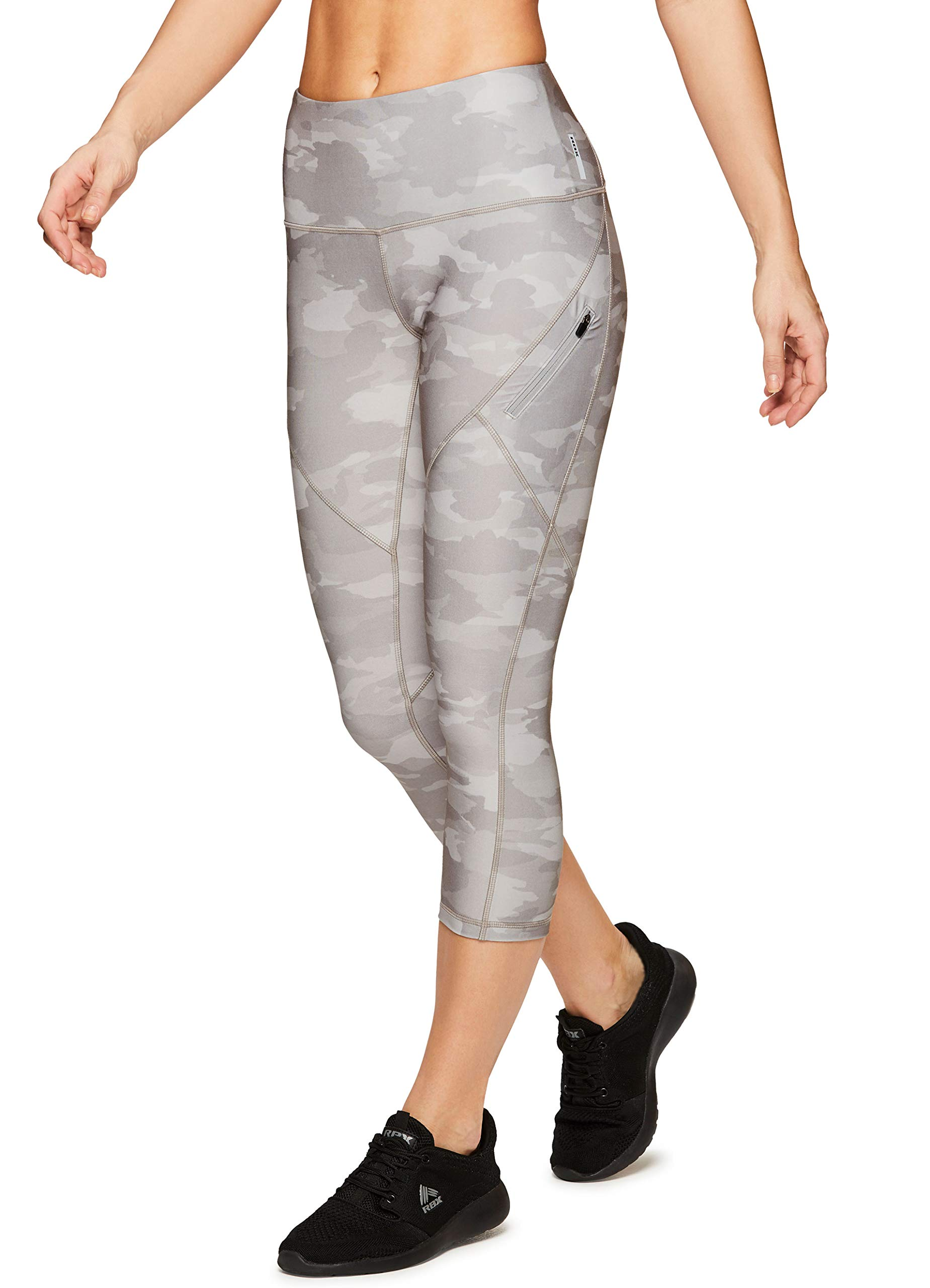 RBX Active Women's Zip Pocket Camo Running Yoga Capri Leggings S19 Camo Grey S by RBX