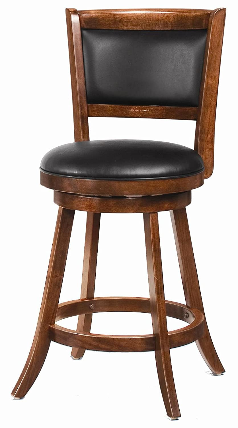 Amazon com coaster transitional chestnut 24 counter height swivel bar stool with upholstered seat kitchen dining