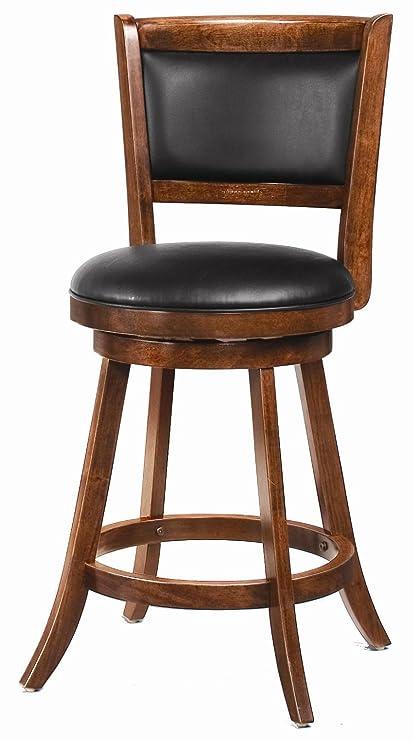 Amazoncom 24 Swivel Counter Stools With Upholstered Seat Chesnut