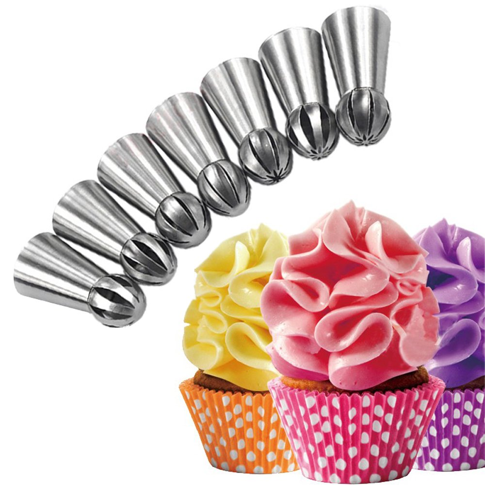 Misula 7PCS/Set New Design Ball Tips Sphere Nozzles Cream Stainless Steel Flower Torch Shape Icing Piping Nozzles Set Pastry Decorating Tips Cupcake Buttercream Decorator