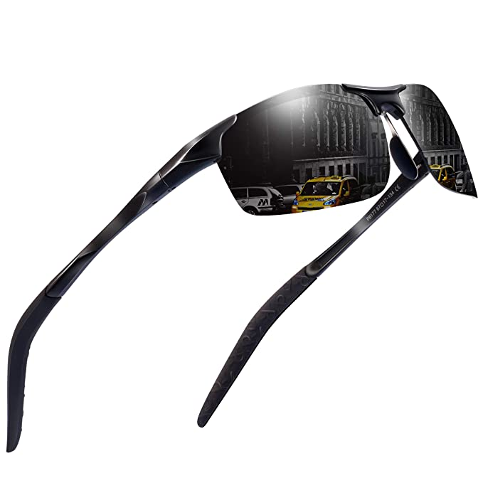 51291f31b212 Sports Polarized Sunglasses for Men - Feirdio Mens Sports Glasses Metal  Frame Driving sunglasses 2266 (