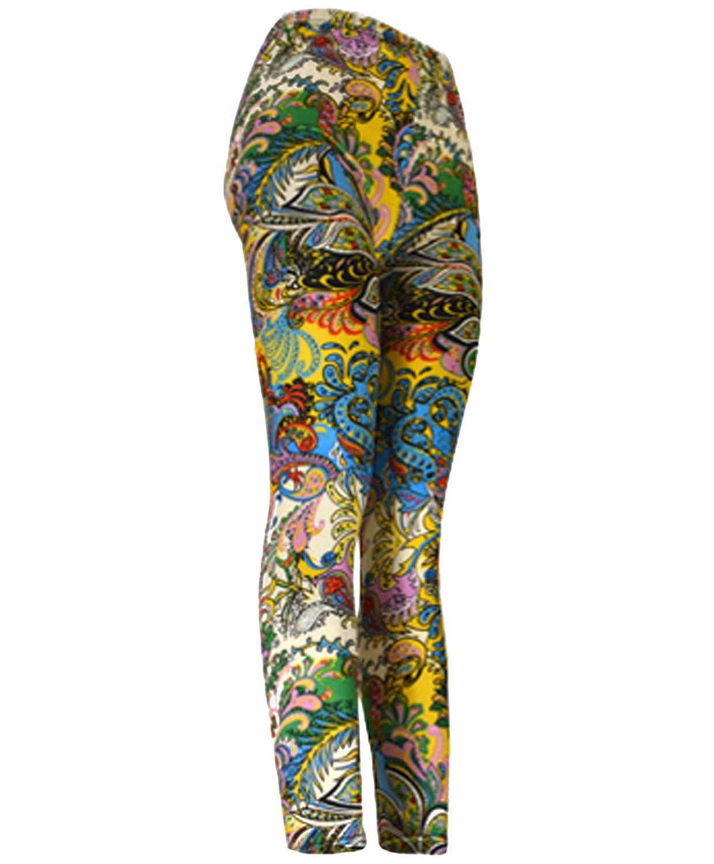 """""""Wild Colored Paisley"""" Ladies Footless Printed Leggings"""