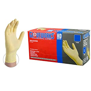GLOVEWORKS HD Industrial Beige Latex Gloves - 8 mil, Powder Free, Textured, Disposable, Medium, ILHD44100-BX, Box of 100