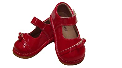 61aabb7ee3159 Girls Red Shoes, Young Girls First Walker Toddler Shoes, Red Patent Leather  Squeaky Shoes UK Sizes 3 to 7 F Fitting