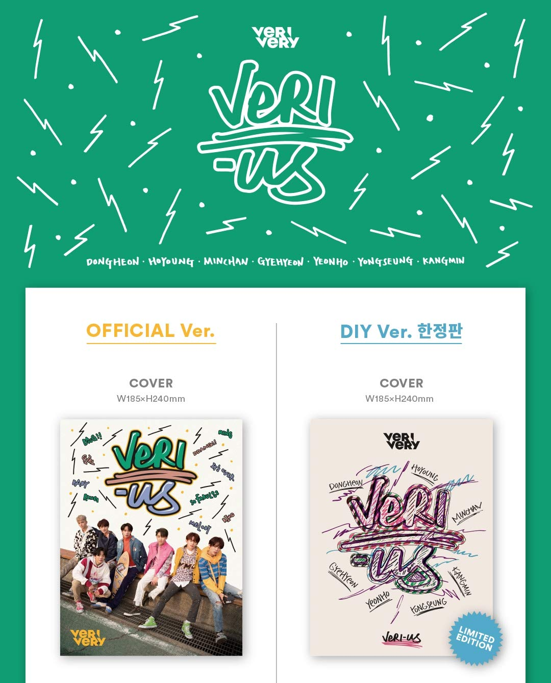 VERI-US 1st Mini Album Jellyfish Entertainent VERIVERY CD+2Photocards+8Postcards+Folded Poster Official ver.