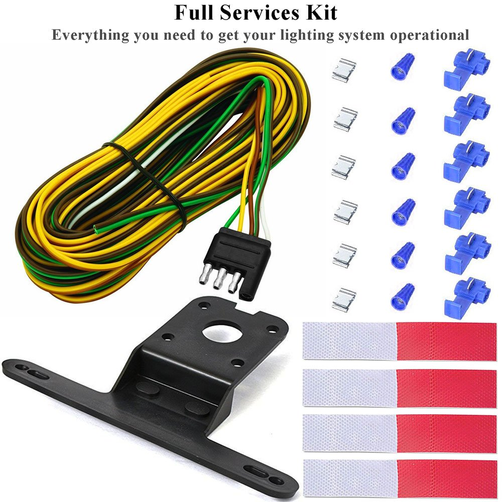 Eeekit 12v Submersible Under 80 Inch Led Trailer Trail Light Kit Wiring Harness With 25ft 862615